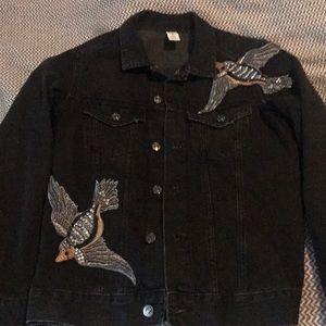 H&M Black Denim Embellished Jacket. Size 8